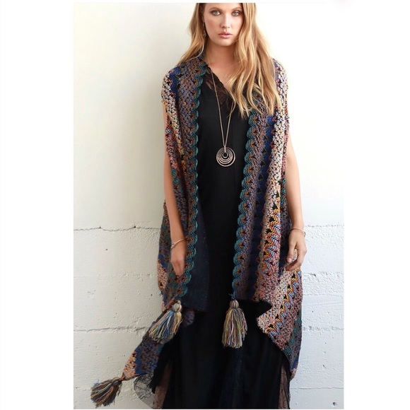 Jackets & Blazers - Boho Knit Boucle Vest with Tassel Accent Acrylic